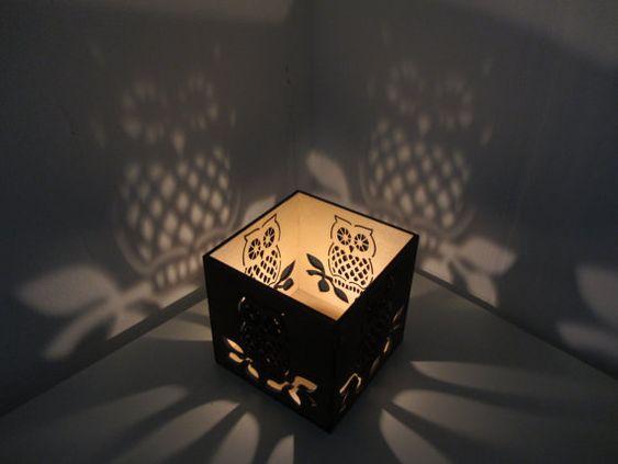 Owl tea candle wooden lantern /wooden led/ real tea light mini lantern / all