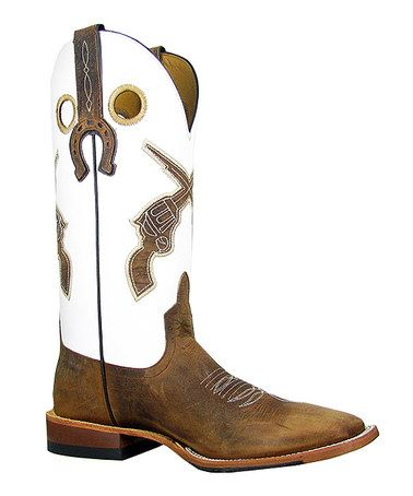 Look what I found on #zulily! White & Brown Showdown Cowboy Boot ...