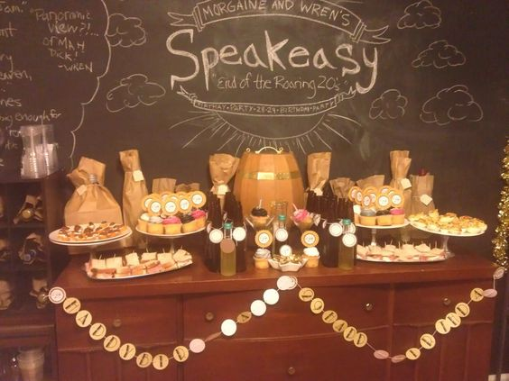 End of the roaring 20s speakeasy birthday party decor and for 1920s party decoration speakeasy