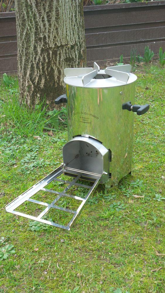 Rocket stove stufa da campo a legna interamente costruita for Stufa rocket