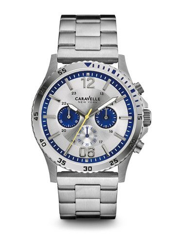 Caravelle New York Men's #43A130 Chronograph Watch | Retail Price: $120 | In-stock watches are 30% OFF and catalog orders are 25% OFF! | Click website for watch details | Andrew Gallagher Jewelers, Newark, DE | 302-368-3380 | WE SHIP!!! DON'T FORGET! There is NO Sales Tax in Delaware!!! |