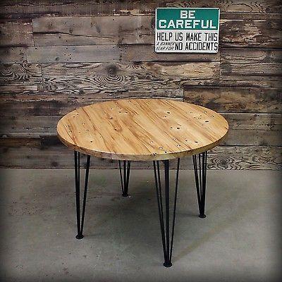 Vintage Industrial Style Handmade Reclaimed Elm Table Hairpin Steel