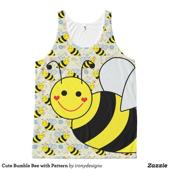 Cute Bumble Bee with Pattern All-Over Print Tank Top Tank Tops