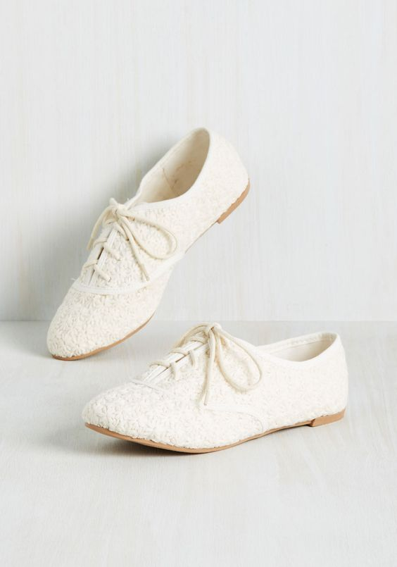 little lace embroidered flats