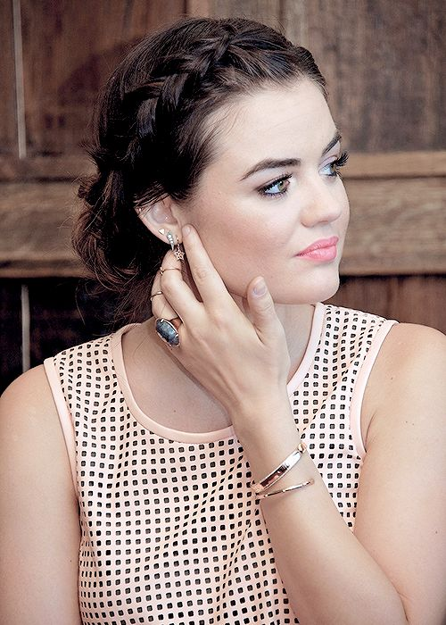 Overall amazin - jewelry. Makeup, braid. Lucy Hale