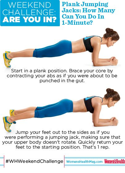 #WHWeekendChallenge : Plank Jumping Jacks! How many can you do (with proper form) in one minute? BONUS: This challenge goes through Memorial Day. SO...ARE YOU IN?