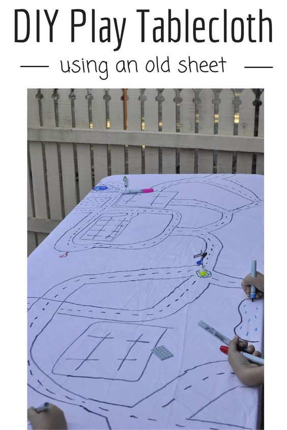 Make a Play Tablecloth out of an old sheet - http://beafunmum.com/2014/07/diy-play-tablecloth/