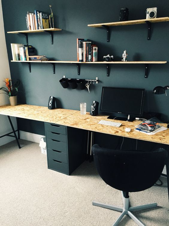 Tremendous New Home Office With Ikea Drawers And Trestle Legs Osb Wood From Largest Home Design Picture Inspirations Pitcheantrous
