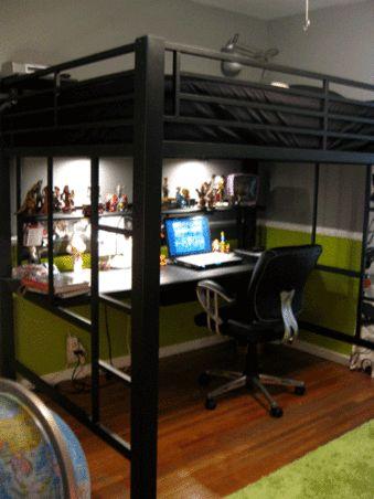 Tween boys room design and coaster furniture on pinterest for Boys loft bedroom ideas
