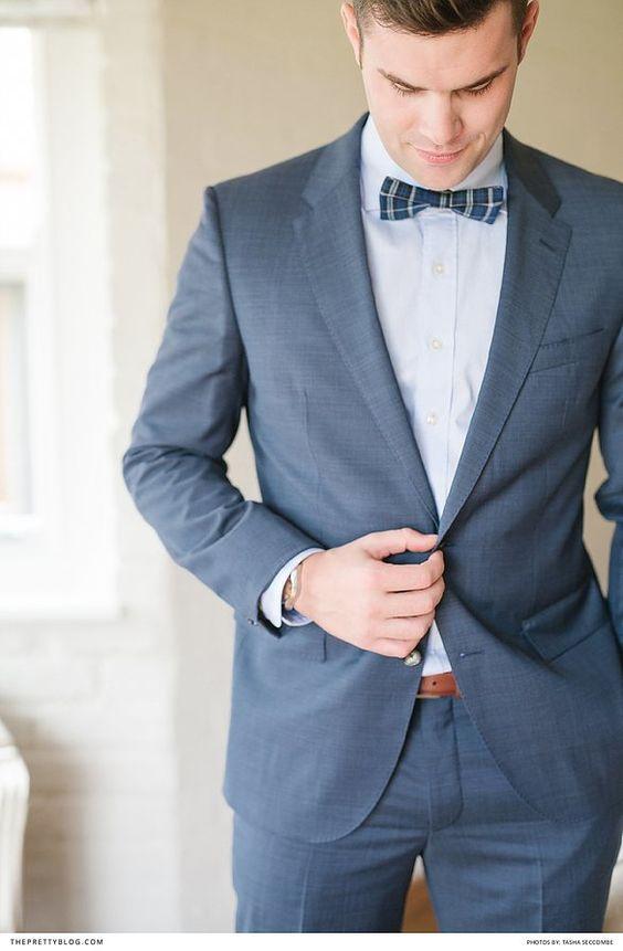 Grey Modern Mens suit Paired with a Plaid Bow Tie   Photography by Tasha Seccombe Sie inetessieren sich für den einzigartigen Gentleman Look? Schauen Sie im Blog vorbei www.thegentlemanclub.de