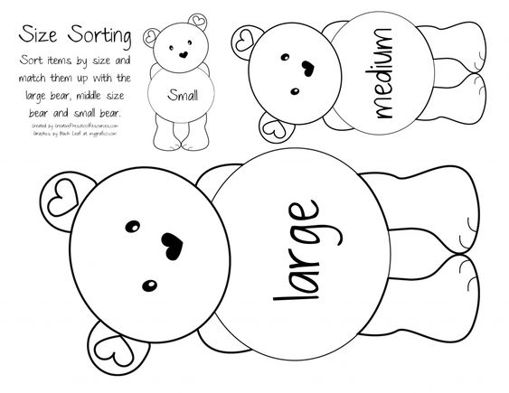 Teddy bear size sort, (copy on brown paper),