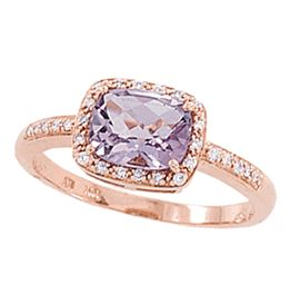 1 Carat Amethyst Diamond and Rose Gold Ring