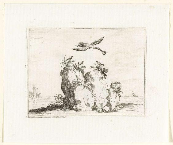 Jacques Callot | Kraanvogel met een steen in de snavel, Jacques Callot, 1621 - 1635 | Voorstelling van een kraanvogel met een steen in de snavel, die over een rots vliegt waarop drie kleine vogels zitten. Dit blad is onderdeel van de embleemserie 'Kloosterleven in emblemen'. De tweede staat van deze serie behelst naast een geïllustreerde titelpagina en 26 emblemen nog een titelpagina en een blad met opdracht, beide in boekdruk zonder afbeelding.