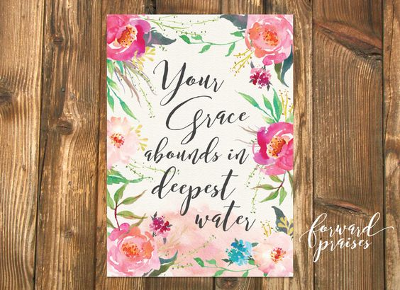 Your Grace Abounds in Deepest Water, Scripture Art, Wall Art, Watercolor Art, Art Print, Oceans, Hillsong Art by ForwardPraises on Etsy