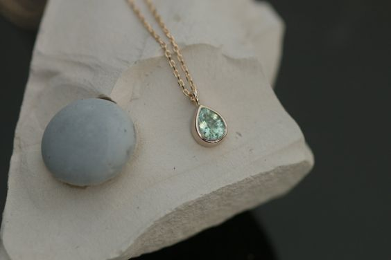 Paraiba Color Tourmaline Layering Necklace with Delicate Cable Chain Keepsake Gift for Her