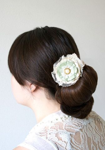 Floral Hairpiece with Pearl Rhinestone Button and Vintage Lace - Mint, Sea Foam Green and Ivory