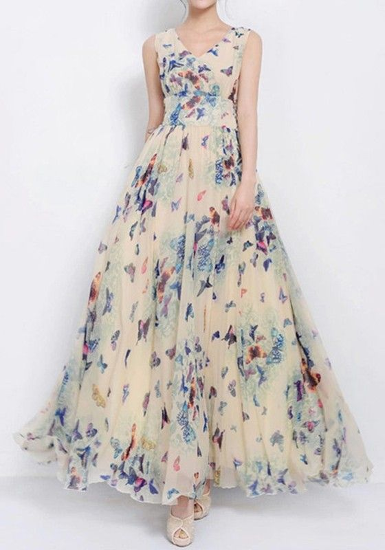Beige Butterfly Print Sleeveless Bohemian Chiffon Maxi Dress: