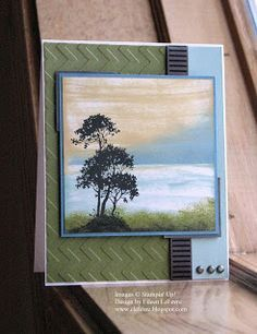 handmade card ... seaside scene ... Serene Silhouette trees ... direct to paper inking ... card papers in the colors of the inking ... pulls everything together ... great card design ... Stampin' Up!