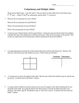 Worksheet Codominance Worksheet Blood Types coats colors and the ojays on pinterest this product is a 3 page practice problem worksheet codominance multiple alleles the