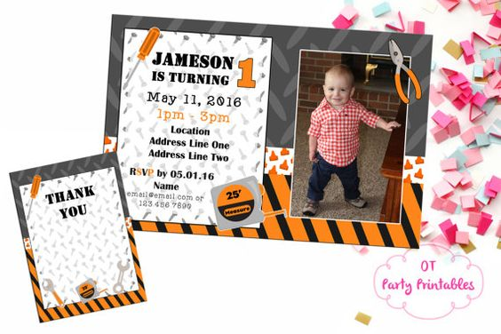 Construction Theme Birthday Party Invitation  by OTPartyPrintables