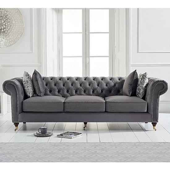 Holbrook Chesterfield 3 Seater Sofa In Grey Velvet Three Seater
