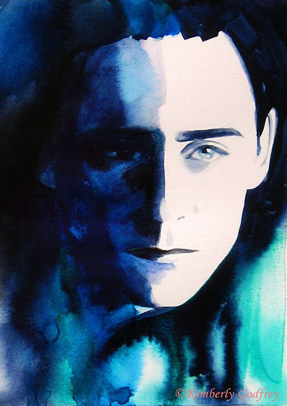 Loki Tom Hiddleston Fine Art Print of Original Watercolour by Kimberly Godfrey.