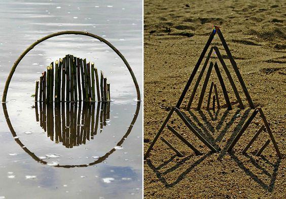 Artista utiliza materiais naturais para criar incríveis esculturas geométricas