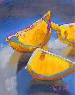 "Tracy Wall: ""Sunset Lemons"". Beautiful glow!  I just love a great little still life."