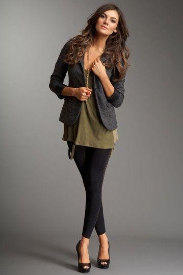 grey blazer, green top, black leggings--love the classy look :))