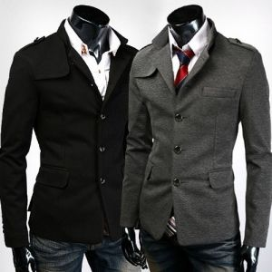 Stylish Casual Stand Collar Single-Breasted Slim Fit Suit Coat For