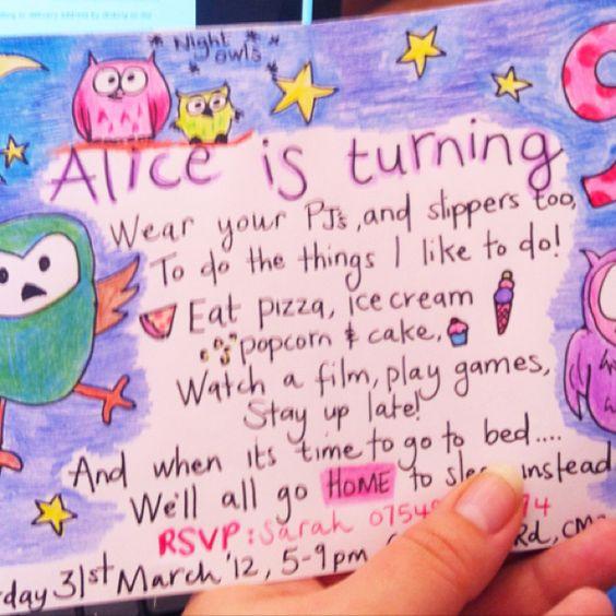 Night owls pyjama pajama pj party invite. Hand drawn - GREAT idea.  I love that it's a mock-sleep over.  :o)