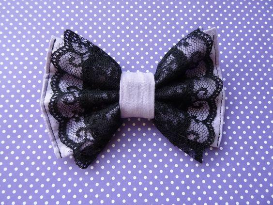 Gothic Lolita Pastel Goth Purple Black Lace Hair Bow