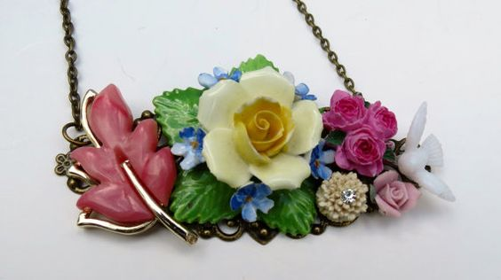 Vintage Repurposed Collage Necklace Rose Garden by LucysRedRose, $30.00