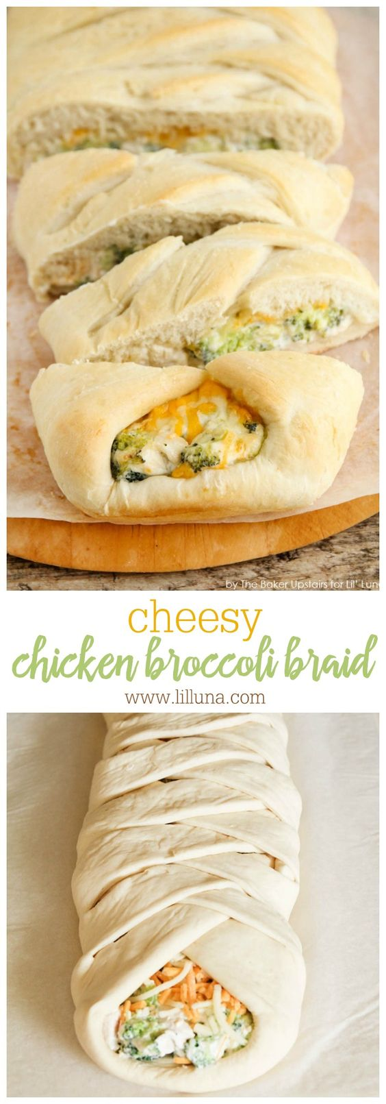 Cheesy Chicken and Broccoli Braid - everyone loves this bread recipe stuffed with cheese and broccoli!