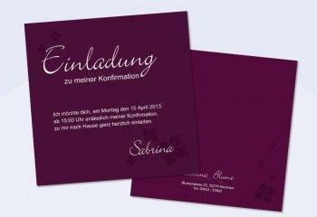 Einladungskarte Kommunion / Konfirmation - quadratisch in beere