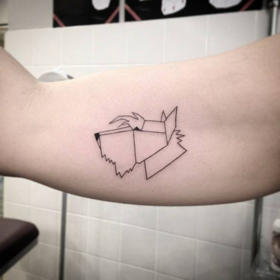 polygon scottish terrier tattoo on the bicep by ivy saruzi tattoos pinterest the o 39 jays. Black Bedroom Furniture Sets. Home Design Ideas