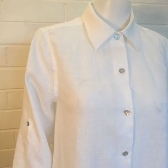 Sussan-White Linen Shirt Top-Size 10