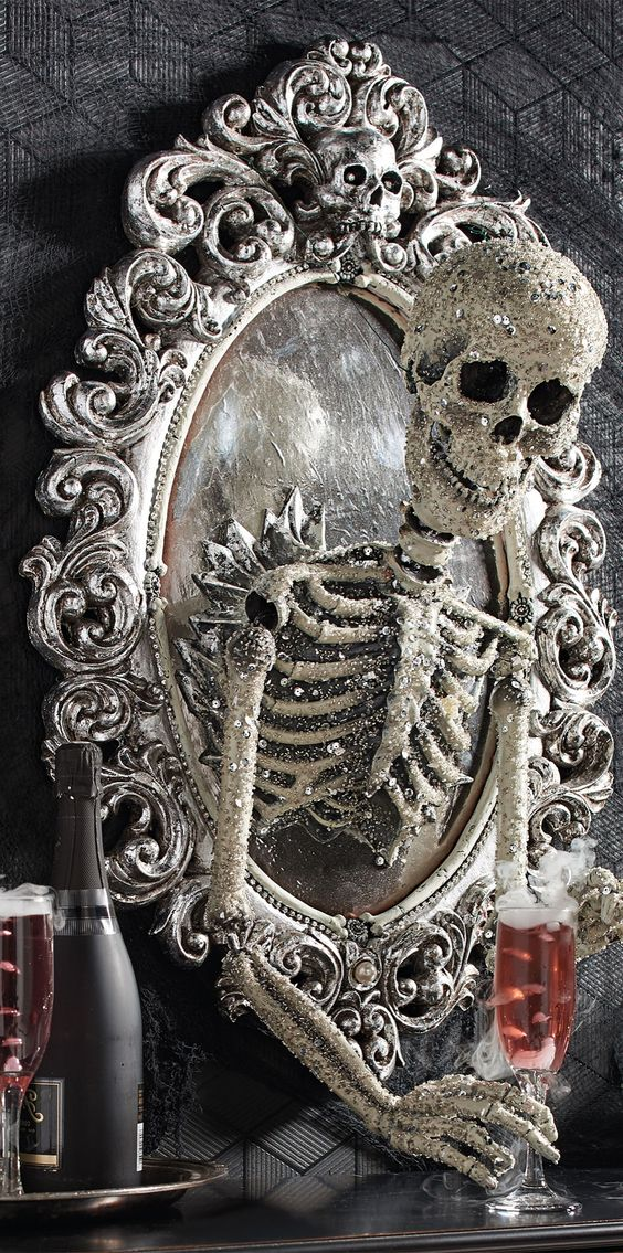 Take your Halloween decorating to a new dimension with the ominously opulent Sorceress Skull Framed Mirror, from Katherine's Collection. | Halloween Haven by Grandin Road: