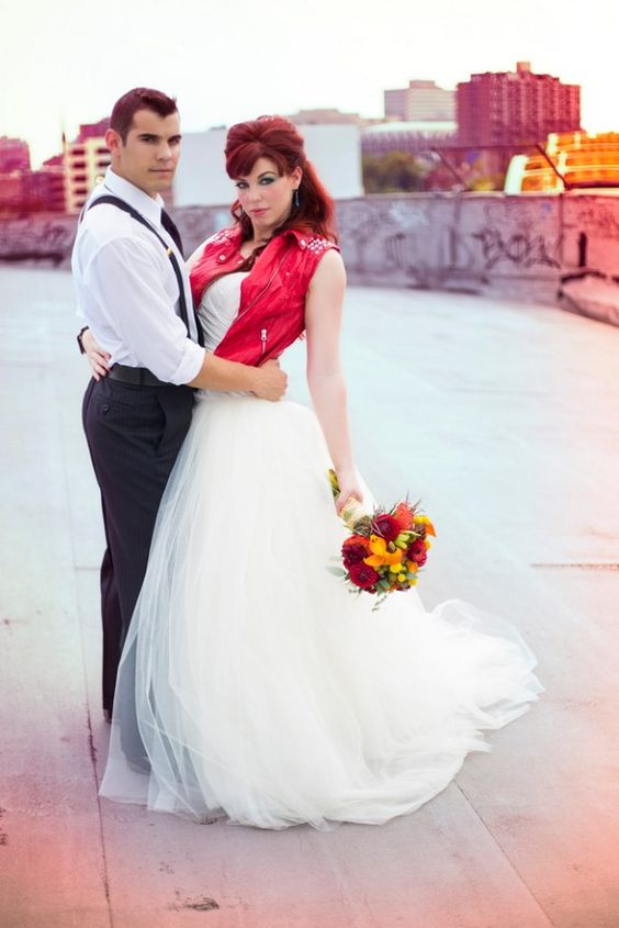 A punk rock styled wedding fashion shoot at Graffiti Warehouse in Baltimore, MD
