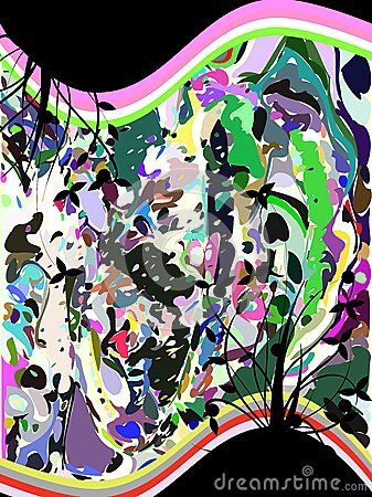 Image representing an abstract background made with colorful fantasy and flowers. An idea for greeting cards or invitations