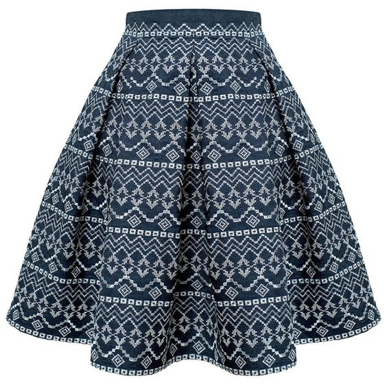 Rumour London - ANNA Embroidered Flared Skirt (£145) ❤ liked on Polyvore featuring skirts, bottoms, faldas, saia, blue skater skirt, flared skirt, midi flare skirt, pleated midi skirt and midi skirt