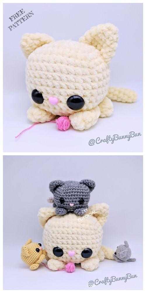 cute learn to crochet craft kit crafting make an animal kitten amigurumi animals crochet patterns Kitty the Cat Crochet Kit pet