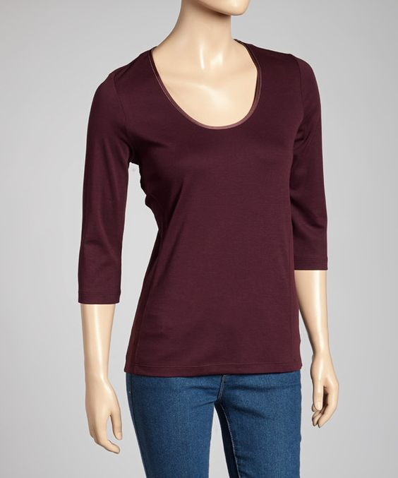 Take a look at this Left Coast Tee Aubergine Classic-Fit Three-Quarter Sleeve Top on zulily today!