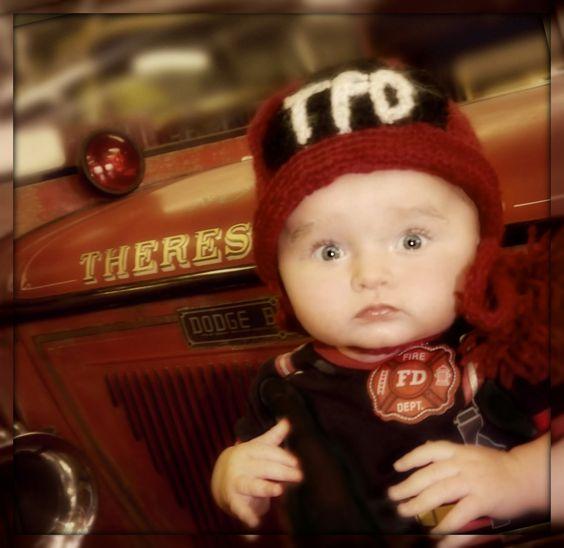 Firefighter crochet baby hat