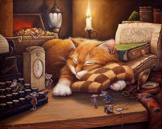 Chat qui dort pendant que les souris dansent - Peinture par Numéro