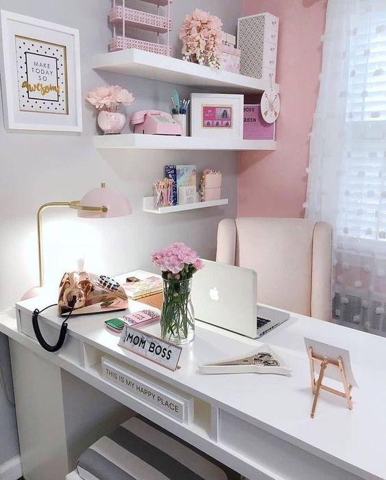 4 Best Inspiring Home Office Design Ideas Pink Home Offices Chic Office Decor Home Office Decor