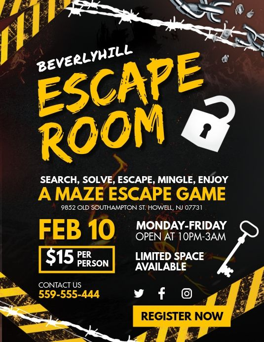 Yellow Escape Room Game Night Flyer Escape Room Game Gaming Posters Party Invite Template