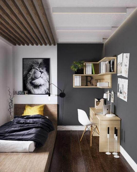 chambre dans salon lit une place coin bureau
