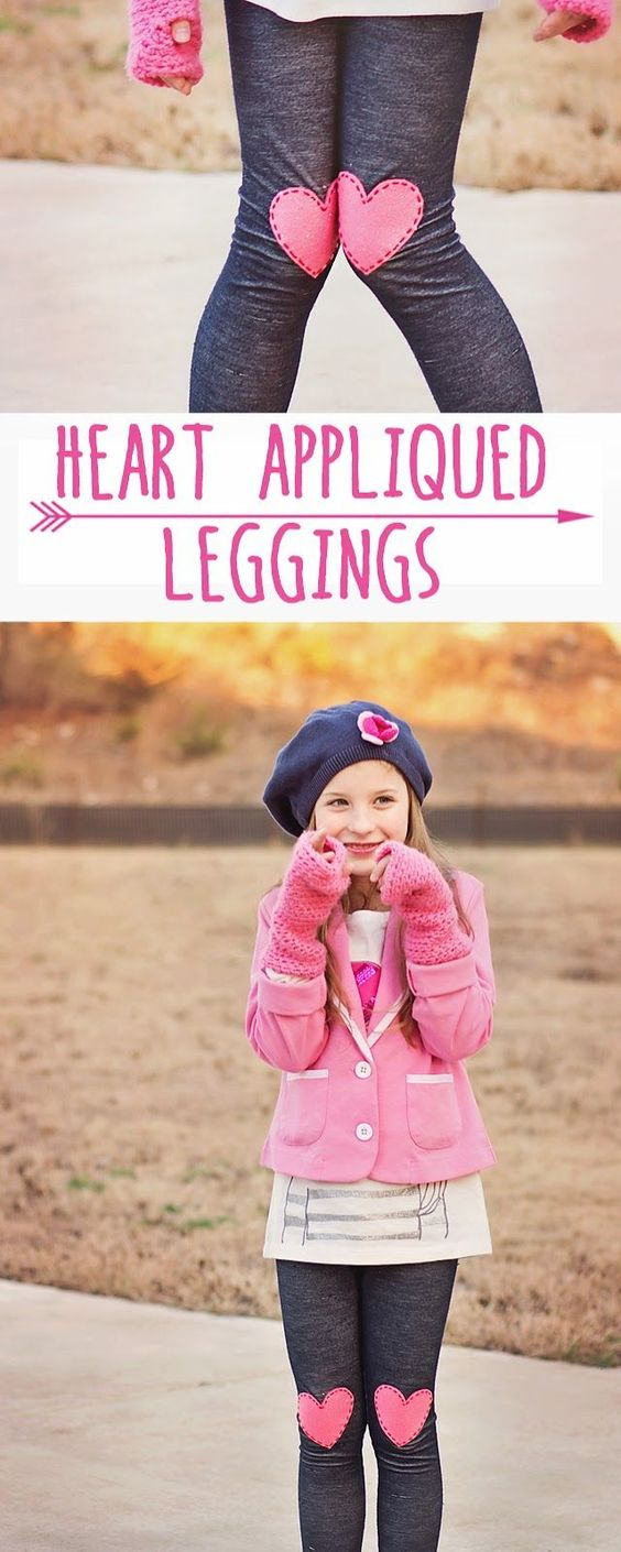 Make these adorable Heart Appliqued Leggings for Valentines Day- NO SEWING!: