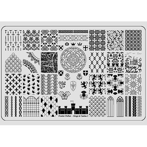 Powder Perfect- Stamping Plates - Kings & Castles 01